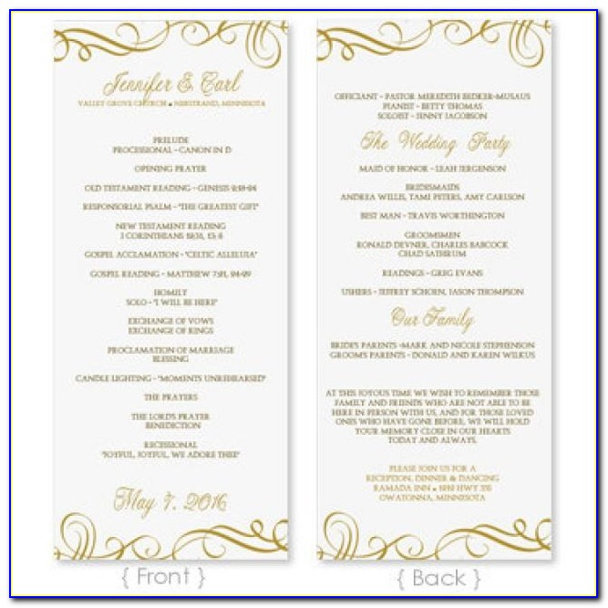 Free Downloadable Wedding Program Template That Can Be Edited