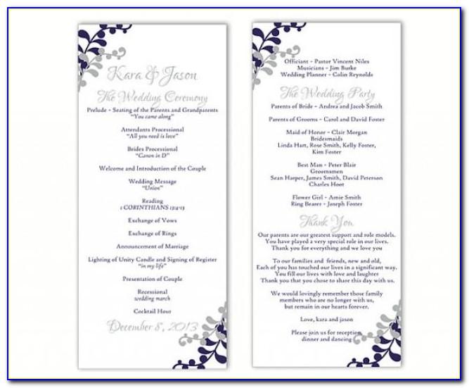 Free Downloadable Wedding Reception Program Templates