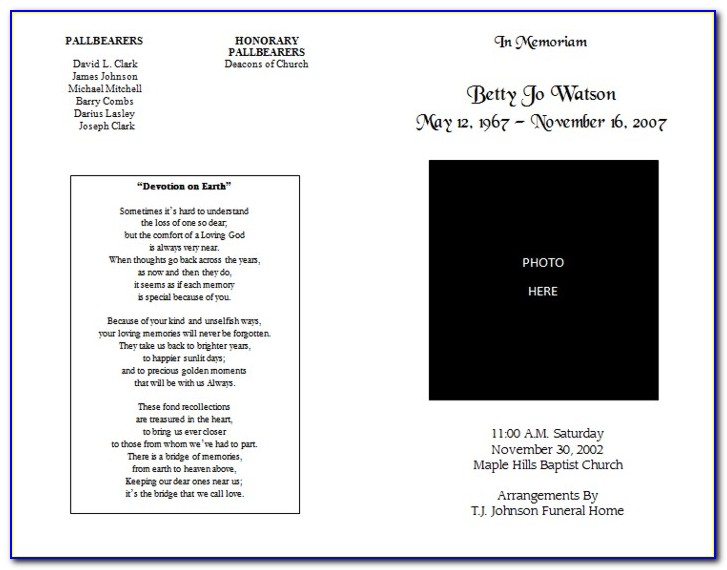 Free Editable Funeral Program Template Pdf Download