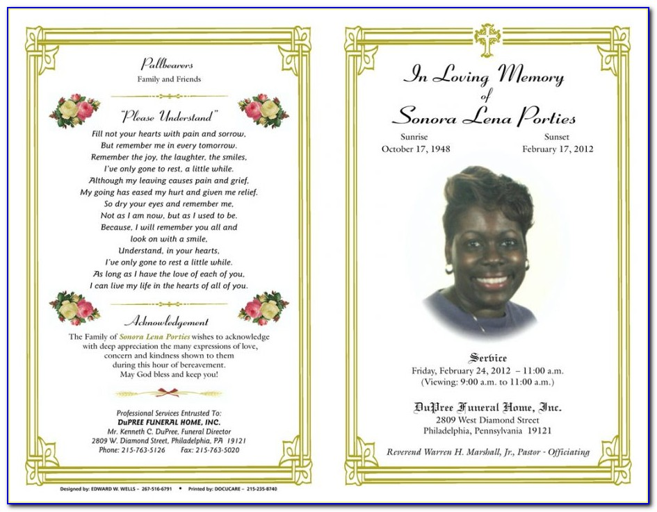 Free Editable Printable Funeral Program Template