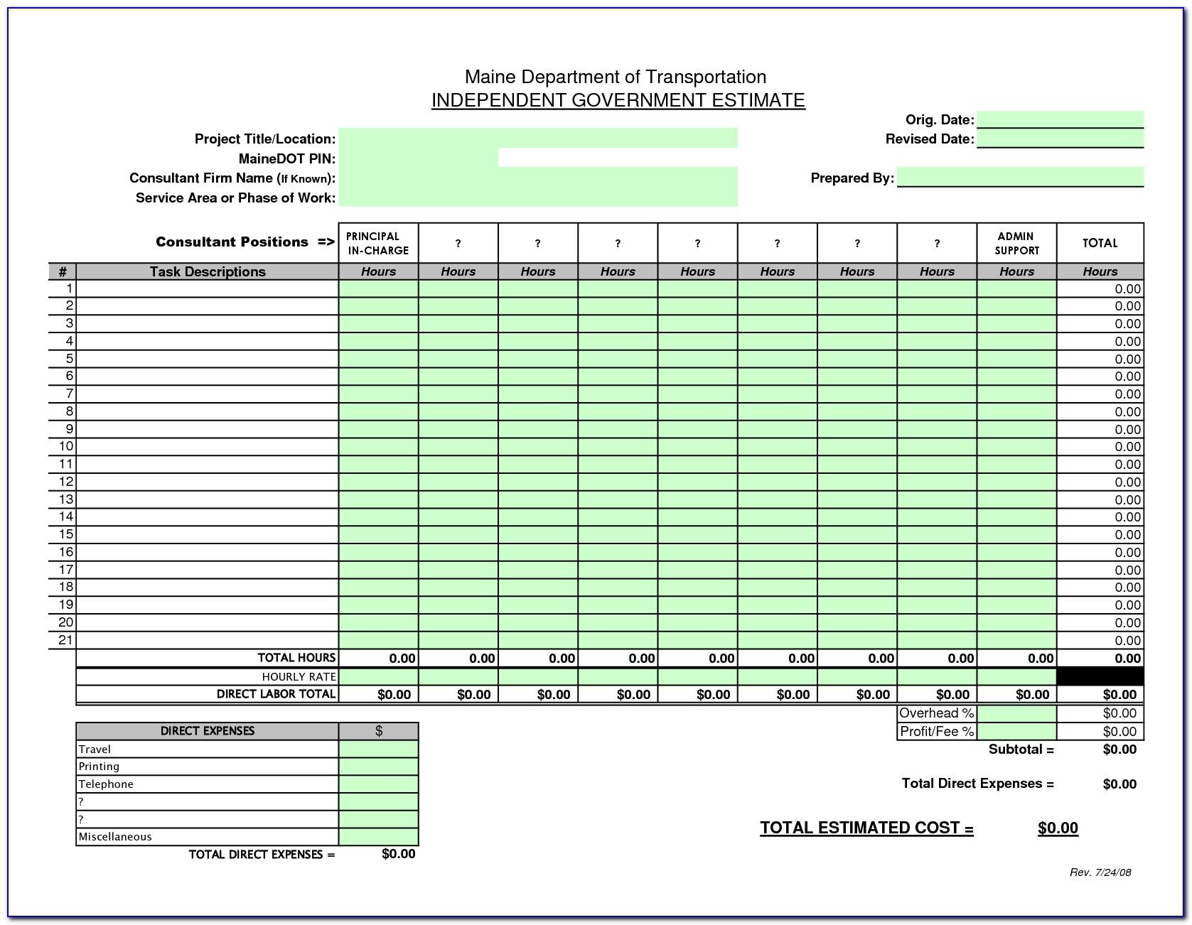 Free Excel Estimating Templates Construction