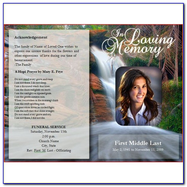Free Funeral Program Template Microsoft Word Download