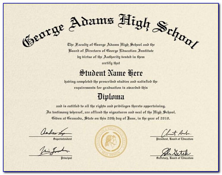 Free High School Diploma Certificate Template