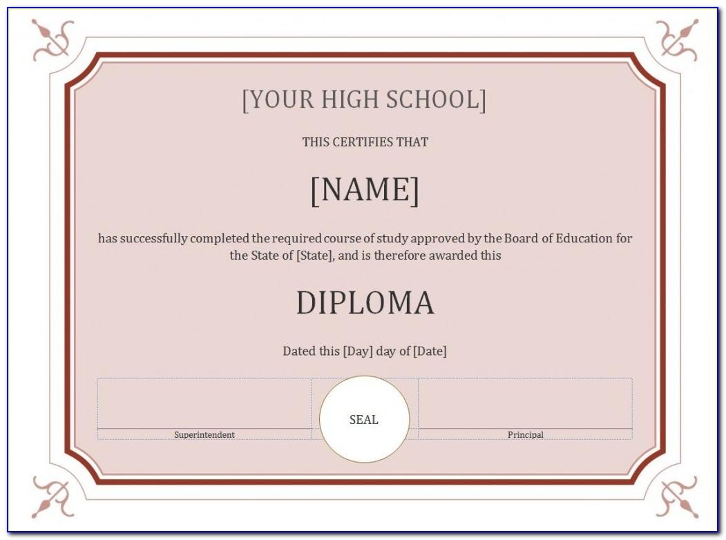 Free Homeschool High School Diploma Template