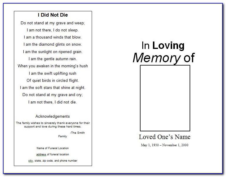 Free Memorial Card Template Microsoft Word