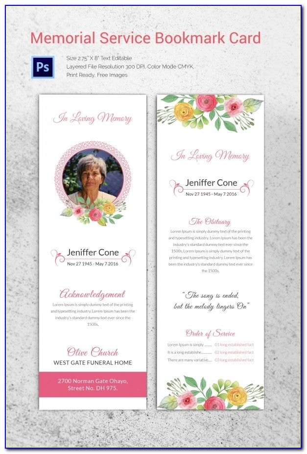 Free Memorial Thank You Card Template