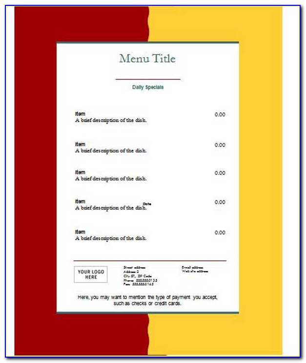 Free Menu Design Templates Download