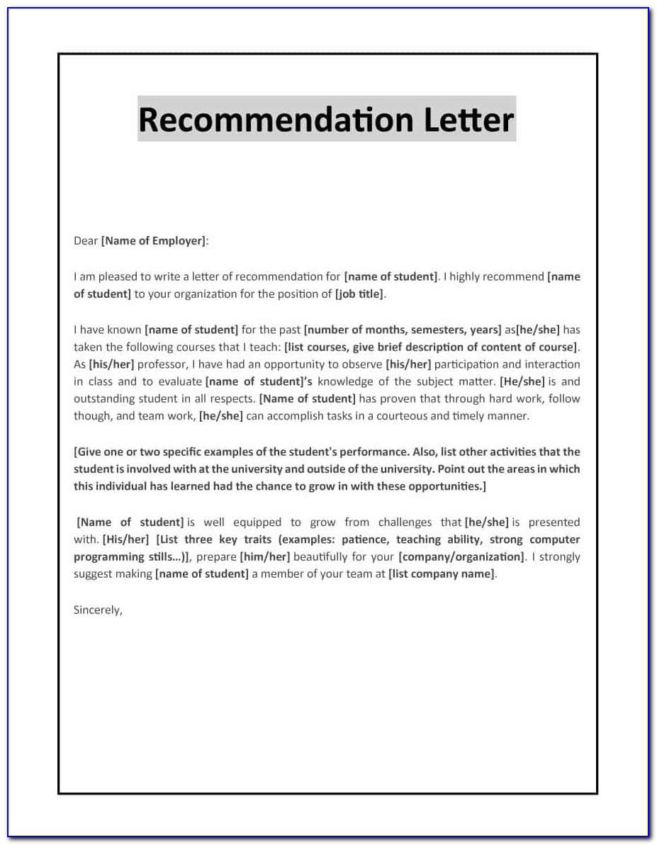 Free Online Letter Of Recommendation Template