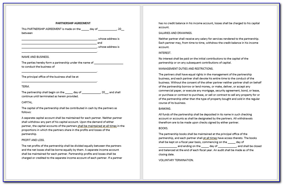 Free Partnership Agreement Template Word Uk