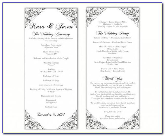 Free Printable Catholic Wedding Program Templates