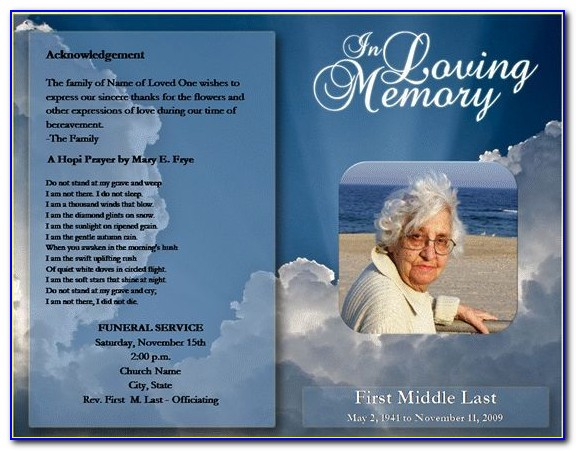 Free Printable Funeral Program Template Uk