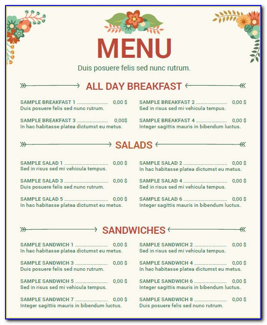 Free Printable Restaurant Menu Template
