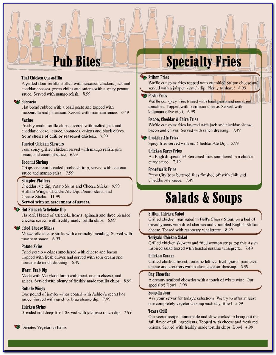 Free Printable Restaurant Menu Templates Pdf