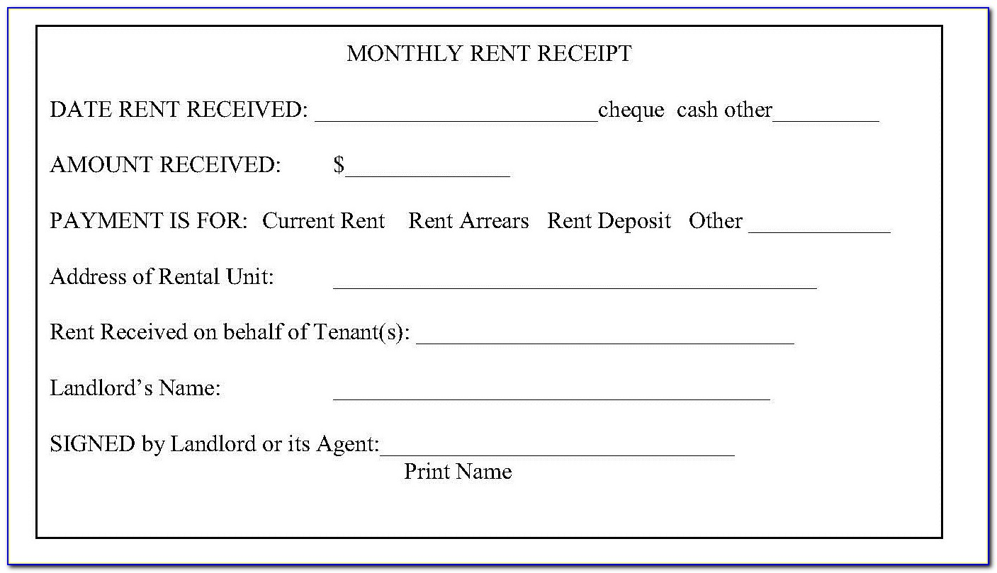Free Rent Receipt Template Excel
