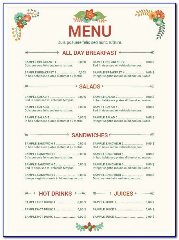 Free Restaurant Menu Templates For Microsoft Word