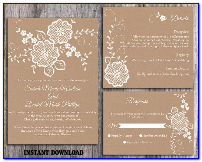 Free Rustic Vintage Wedding Invitation Templates