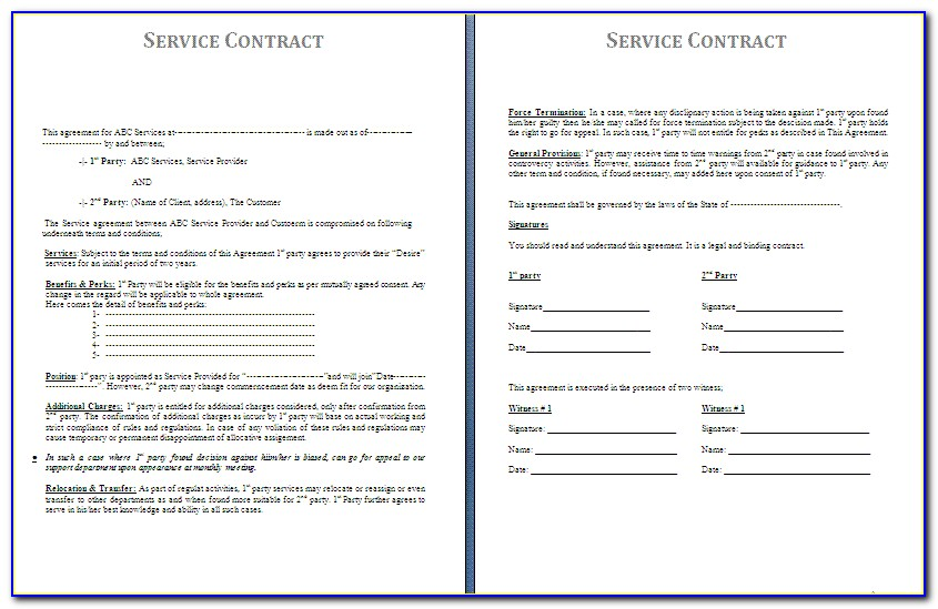 Free Service Agreement Template Australia