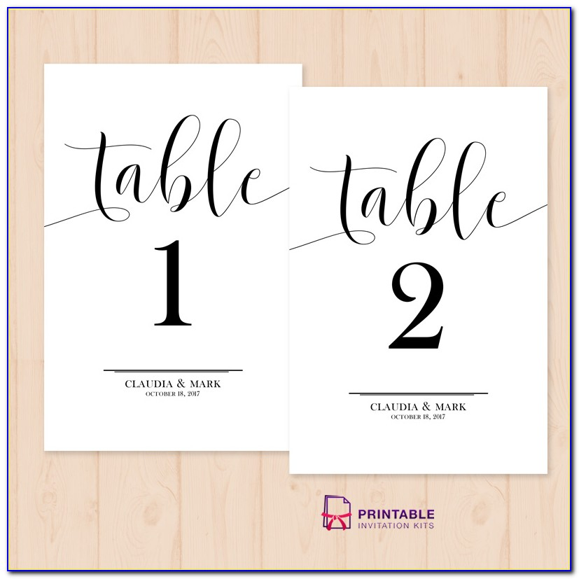 Free Table Number Templates 1 50