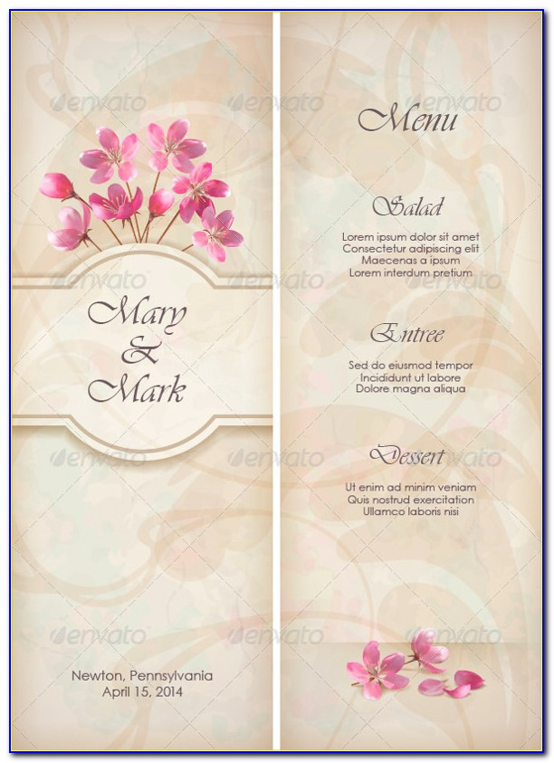 Free Wedding Menu Design Templates