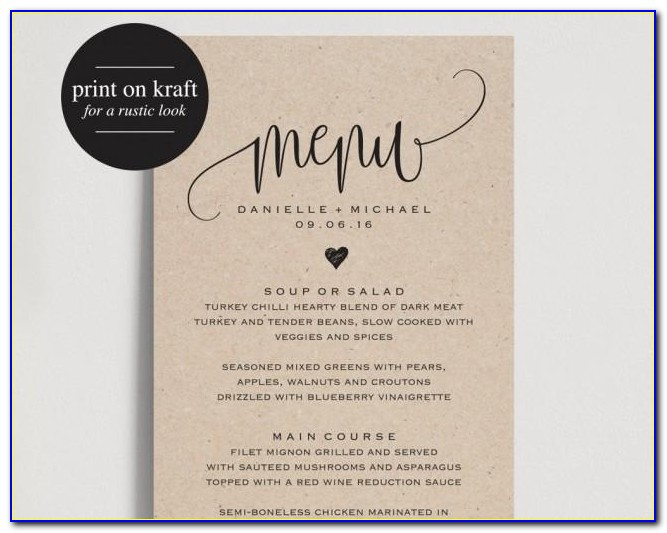 Free Wedding Menu Templates For Word