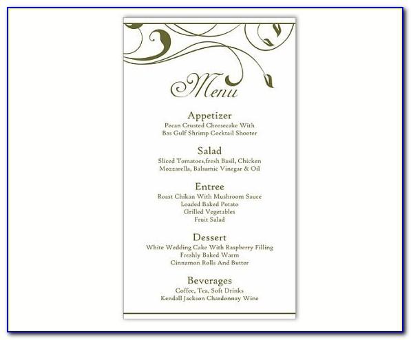 Free Wedding Menu Templates To Print