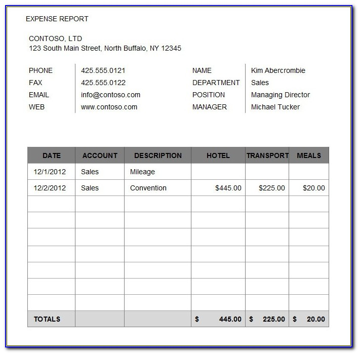 Free Weekly Expense Report Template