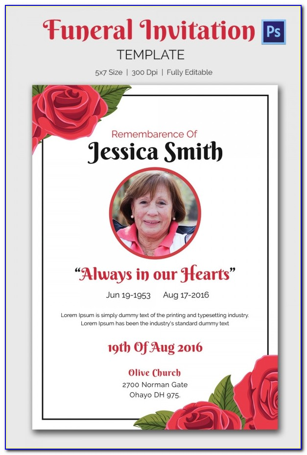 Funeral Announcement Template Microsoft