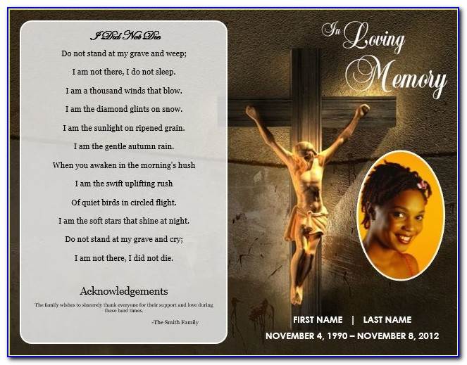 Funeral Card Template Psd
