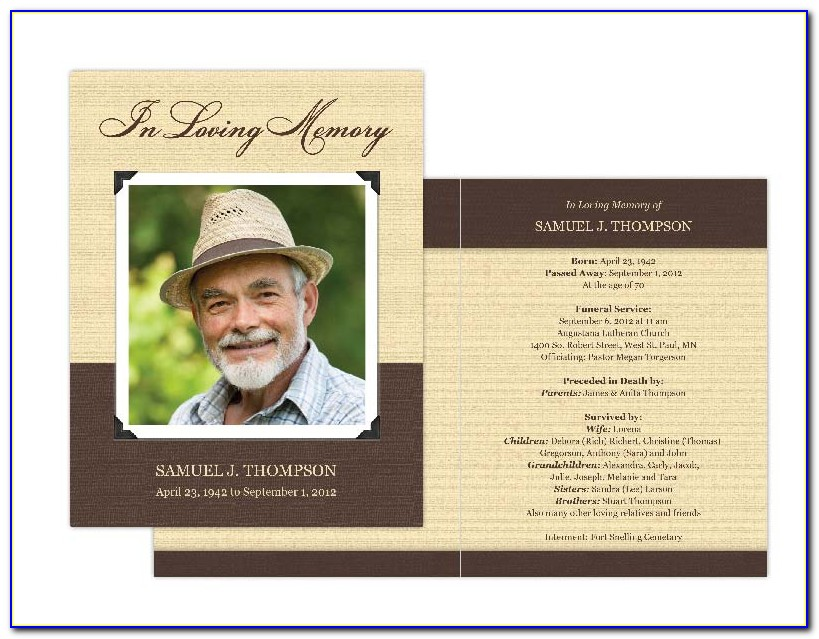Funeral Card Template Publisher