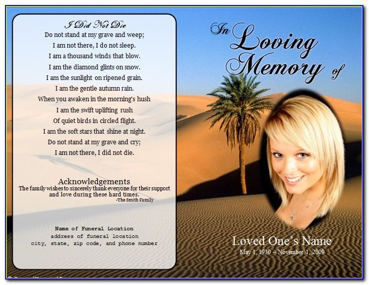 Funeral Card Template Word