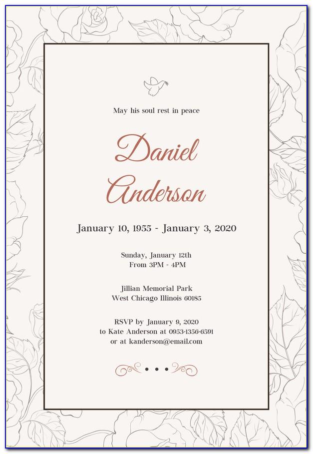 Funeral Invitation Template In Spanish