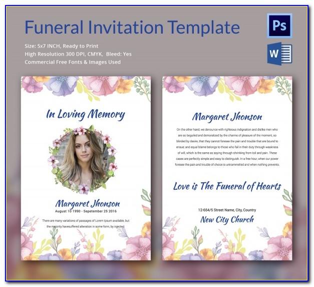 Funeral Invitation Template Pdf