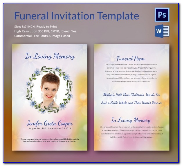 Funeral Invitation Template Uk