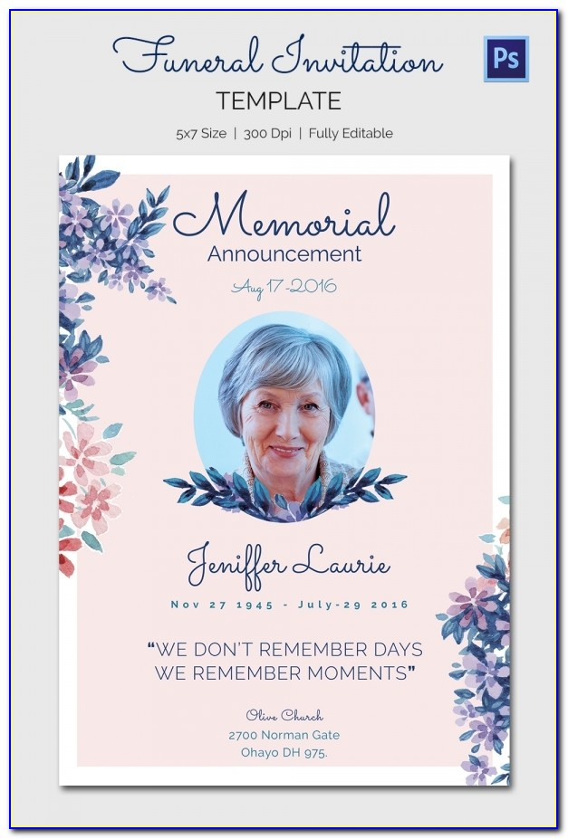 Funeral Invitation Template Word Free