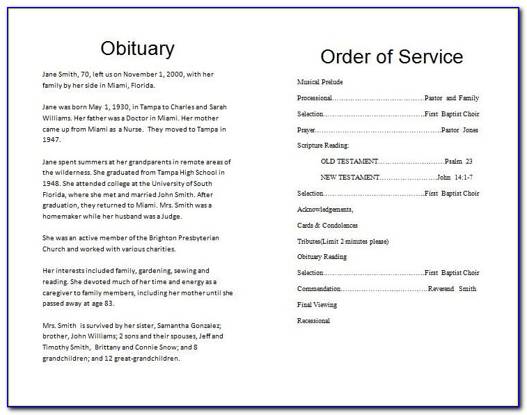 Funeral Order Of Service Template Australia