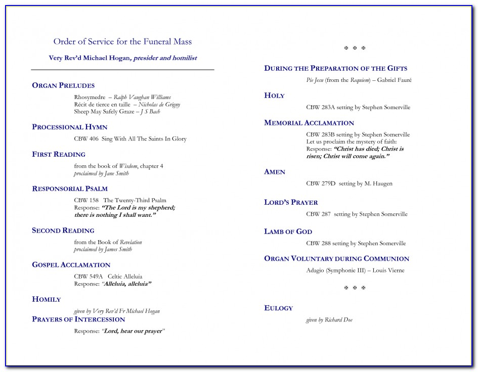 Funeral Order Of Service Template Catholic