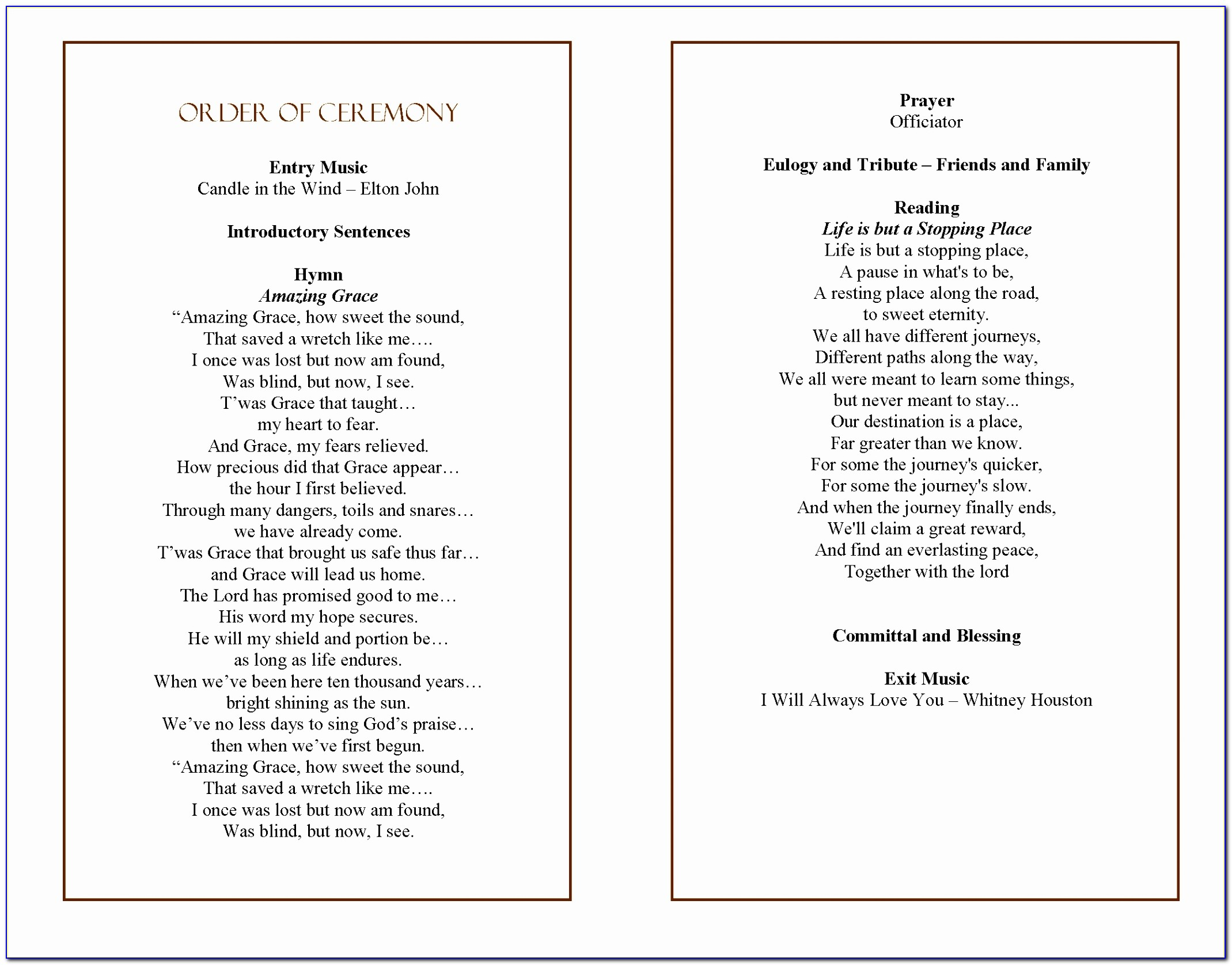 Funeral Program Quotes Quotesgram Printable Order Of Service For Funeral Template Inspirational Pdf Word Excel Templates Iupia