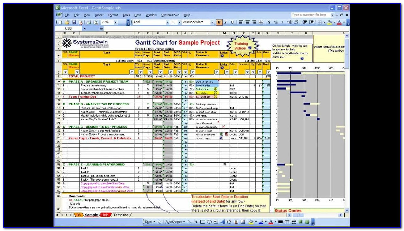 Gantt Project Planner Template With Microsoft Excel 2013 ...
