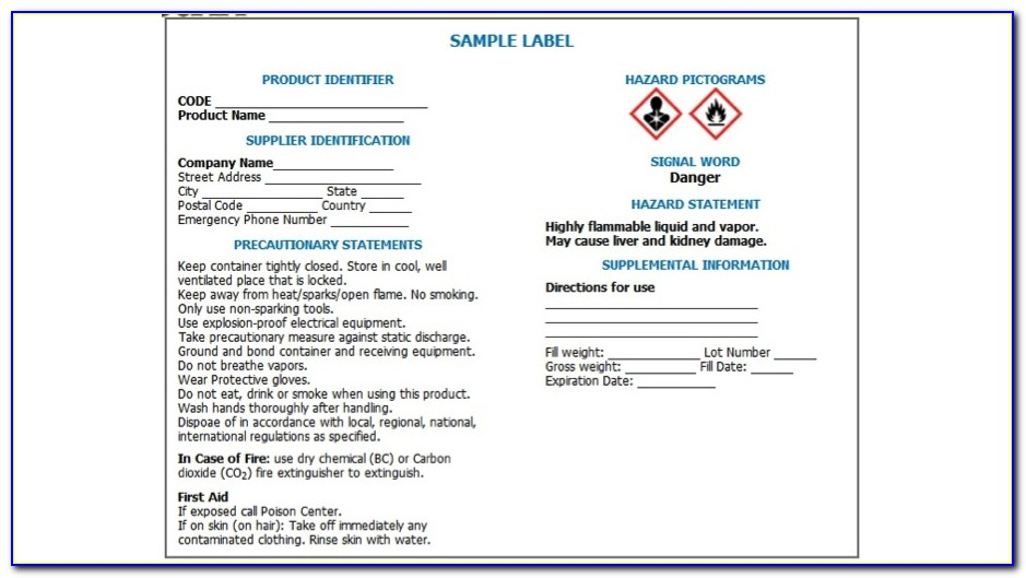 Ghs Label Format Requirements