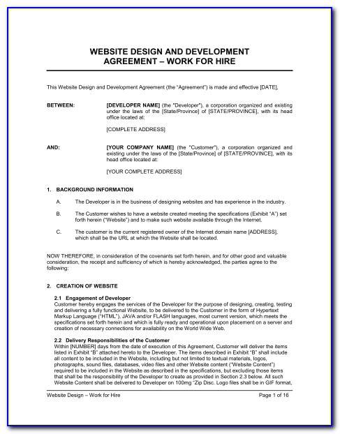 Graphic Design Contract Template Uk