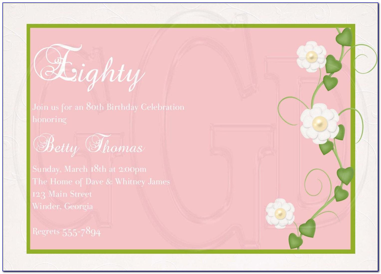 Happy 80th Birthday Invitation Templates
