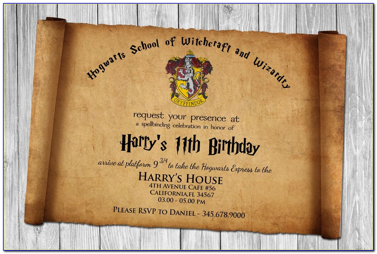 Harry Potter Invitation Letter Template