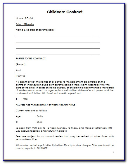 Home Daycare Contract Template