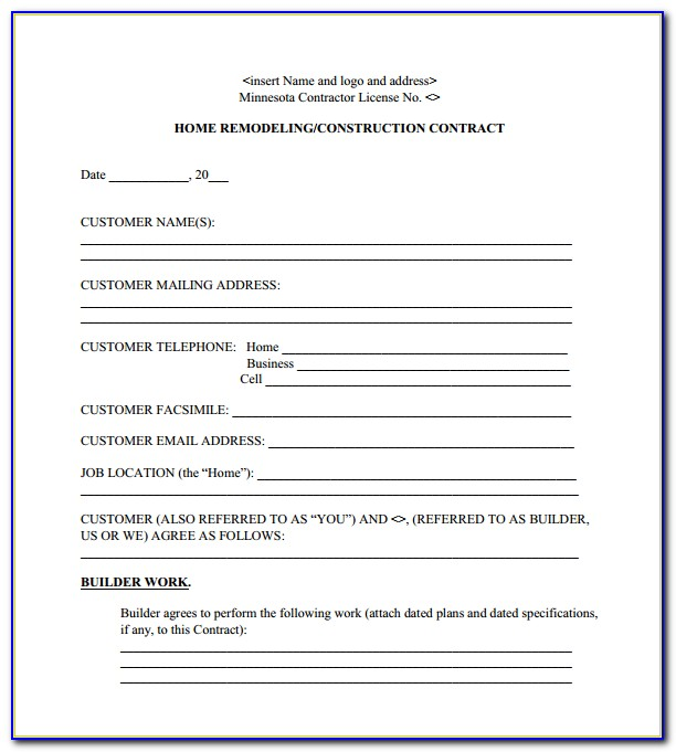 Home Remodeling Contract Template Pdf