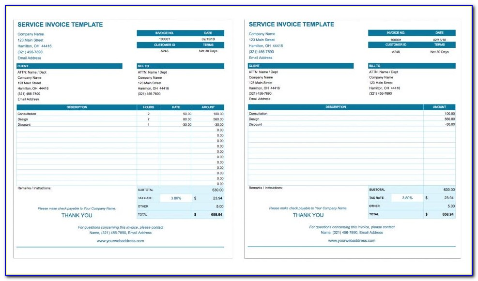 Hourly Invoice Template Microsoft Word