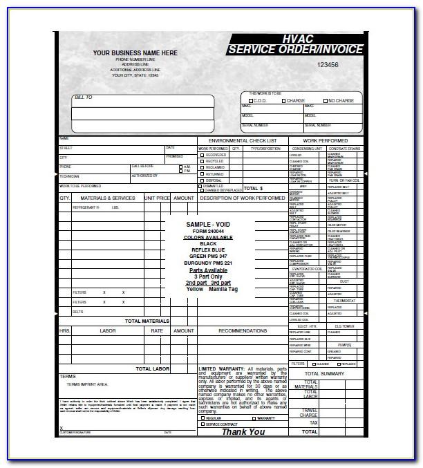 Hvac Invoice Samples