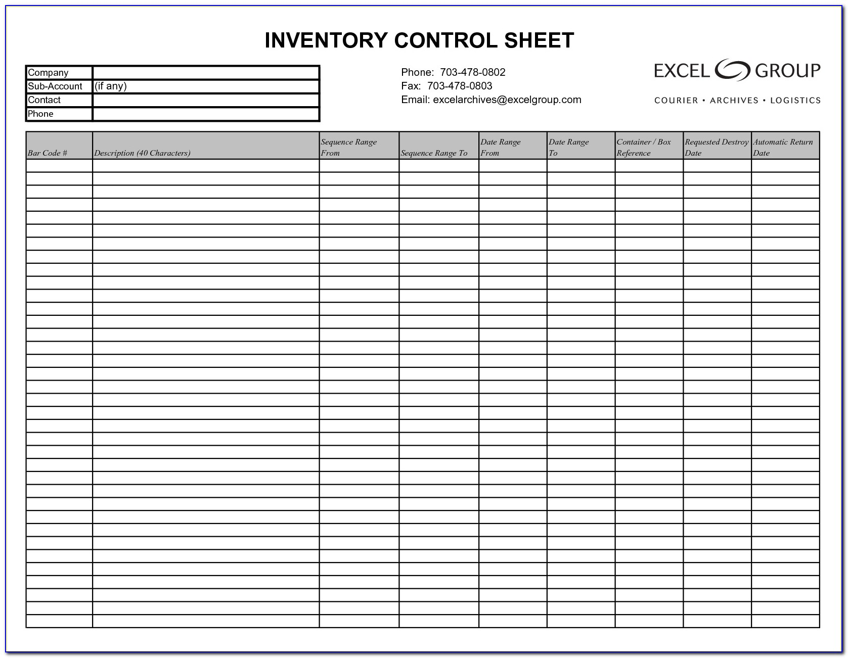 Inventory Spreadsheet Template Excel