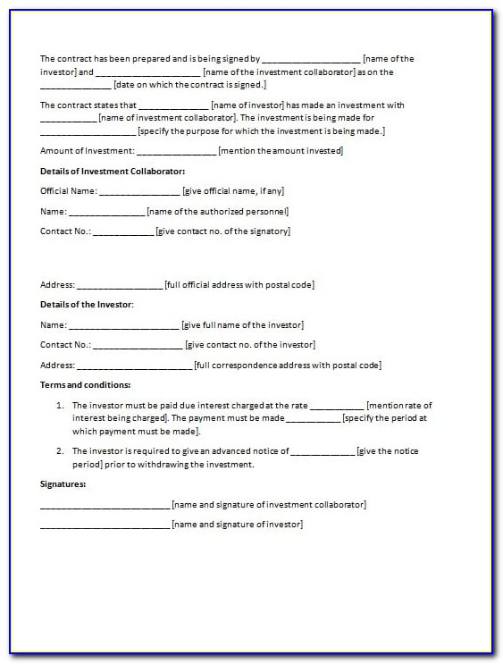 Investment Agreement Template Canada