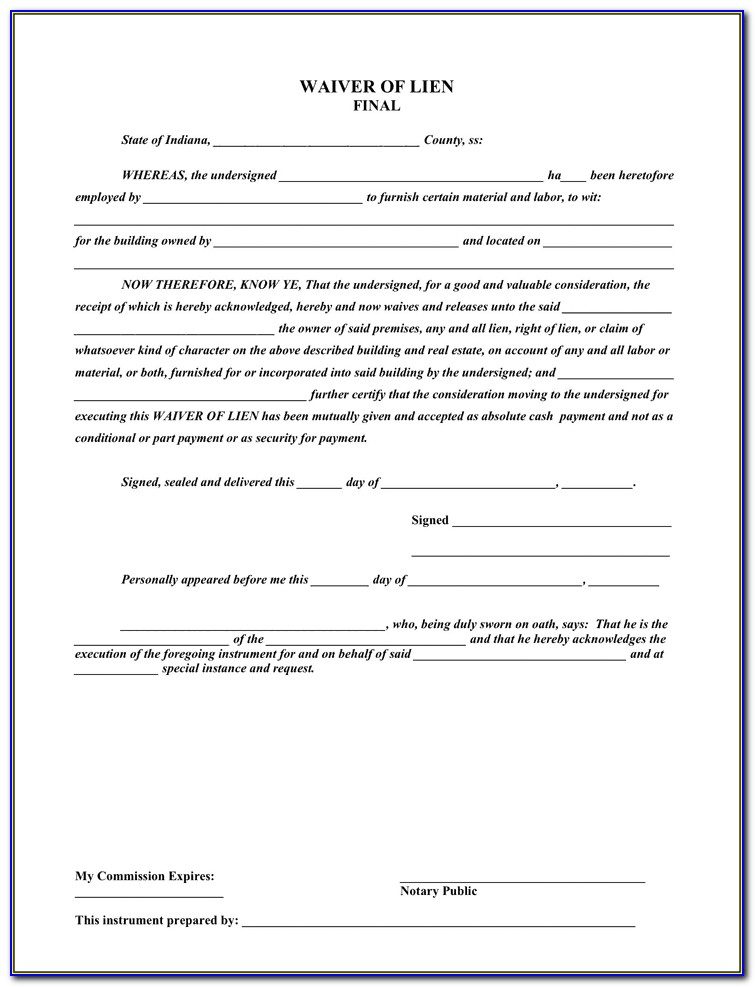 Lien Waiver Template Free