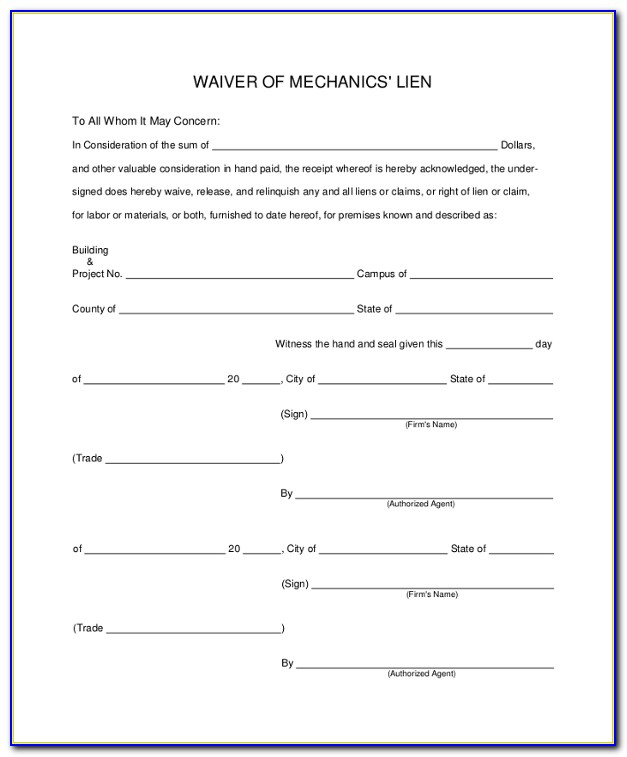 Lien Waiver Template Uk